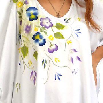 Μπλούζα Υπερμέγεθος Ασύμμετρη Ζωγραφική Λουλούδια Μπλε Μοβ c2548664741