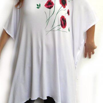 Μπλούζα Υπερμέγεθος Κοντομάνικη Ζωγραφική Κόκκινα Λουλουδια 3af83d2f9bc