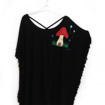 Μπλούζα Υπερμέγεθος με Κρόσια Ζωγραφική Μανιταρόσπιτο 3cd9e9054d0
