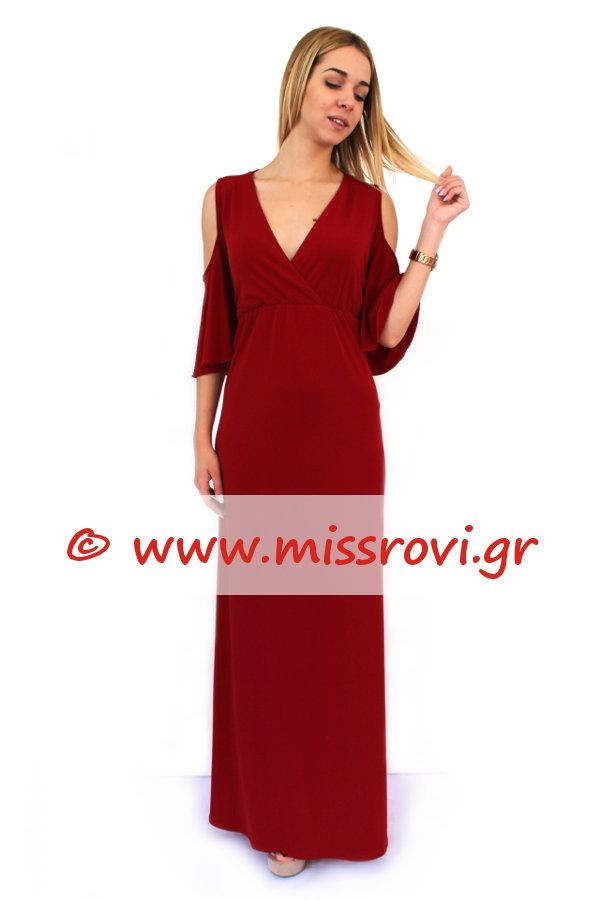 160ebfa4a2e1 Φόρεμα Μάξι Έξω Ώμοι Κρουαζέ Κοντό Μανίκι Βολάν Onesize