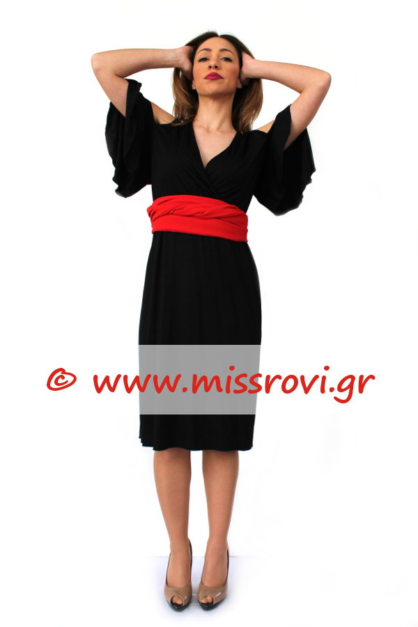 364c45dc457a Φόρεμα Μίντι Έξω Ώμοι Κρουαζέ Κοντό Μανίκι Βολάν Onesize