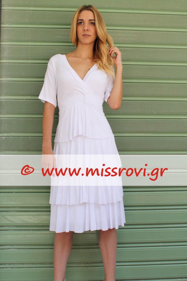 82f939d21ecf Φόρεμα Μίντι Κρουαζέ Κοντό Μανίκι Βολάν Onesize