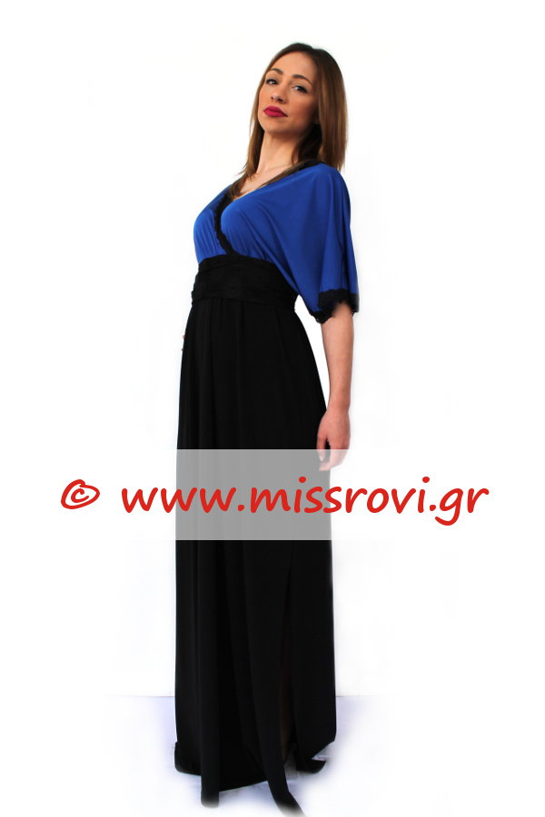 0331df324e0 Φόρεμα Κρουαζέ Μάξι Τελείωμα Δαντέλα Αμπιγιέ   Miss Rovi Fashion