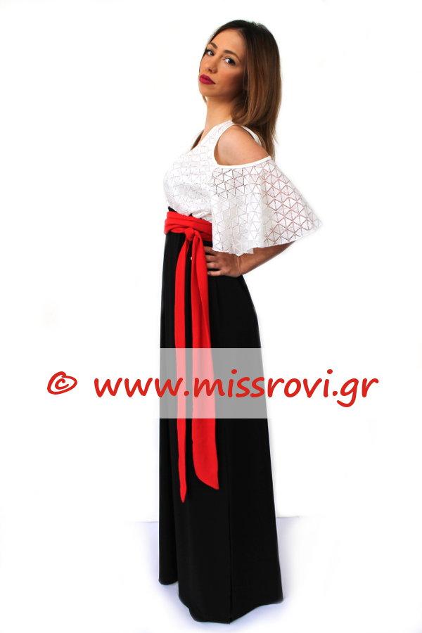 c76114c0be70 Φόρεμα Μάξι Έξω Ώμοι Κρουαζέ Σιθρού Δαντέλα Κοντό Μανίκι Βολάν