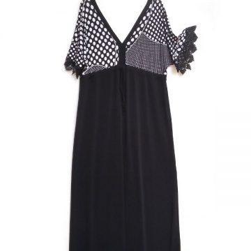 715f317c12a Φόρεμα Ζαπονέ Μάξι Βε Μπροστά Πίσω Κομποζέ Αμπιγιέ Onesize