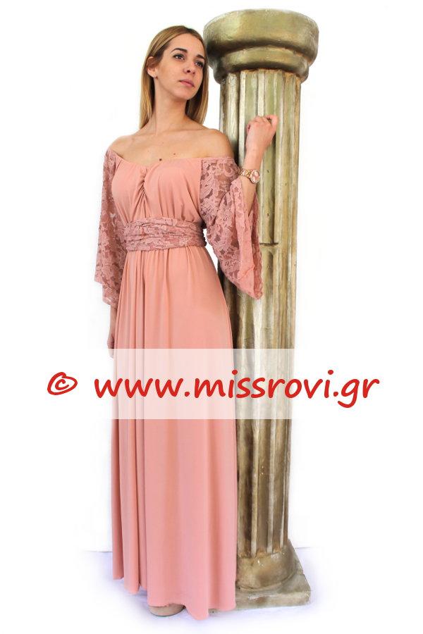 6cf227c90e7 Φόρεμα Μάξι Κλος Αμπιγιέ Μανίκια Δαντέλα Υπερμέγεθος