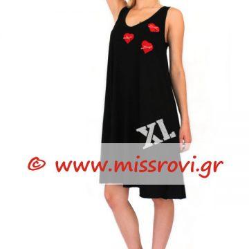 7337cc931e1f Φόρεμα Ράντα Κλος Βε Κοντό Απλικέ Καρδιές Υπερμέγεθος