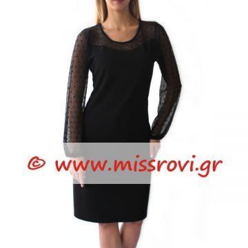 φόρεμα μαύρο τούλι μίντι αμπιγιέ