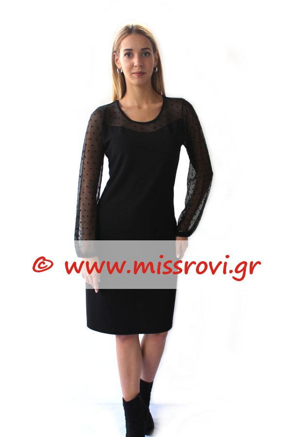fa54b5d5ffe4 Φόρεμα Μίντι Τούλι Πουά Μανίκια Ντεκολτέ