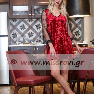 φόρεμα κόκκινο βελούδο τούλι πουά
